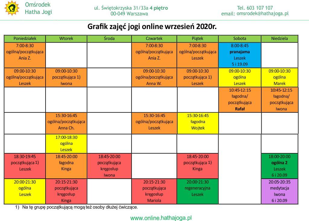 Grafiki jogi online na wrzesień 2020