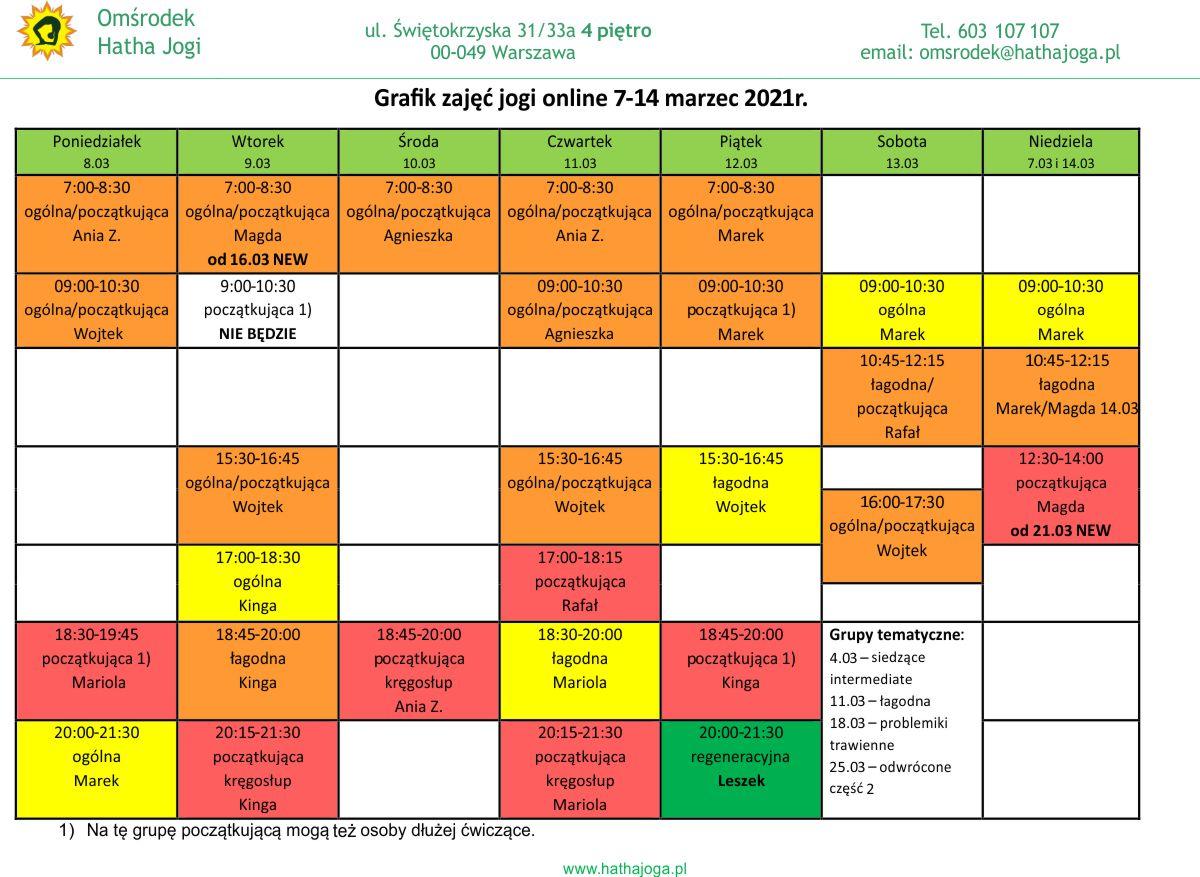 Grafik zajęć jogi online 7-14 marzec 2021