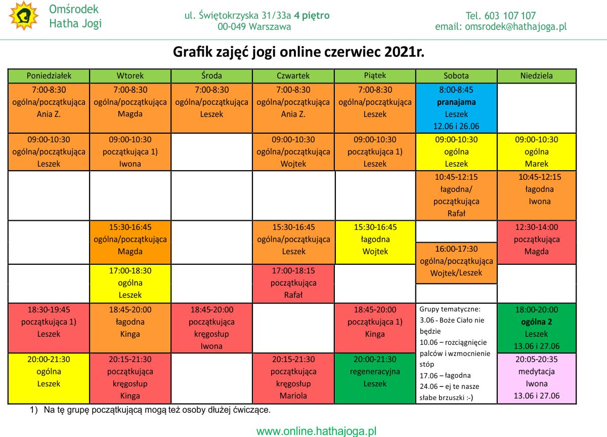 Grafik jogi na czerwiec 2021