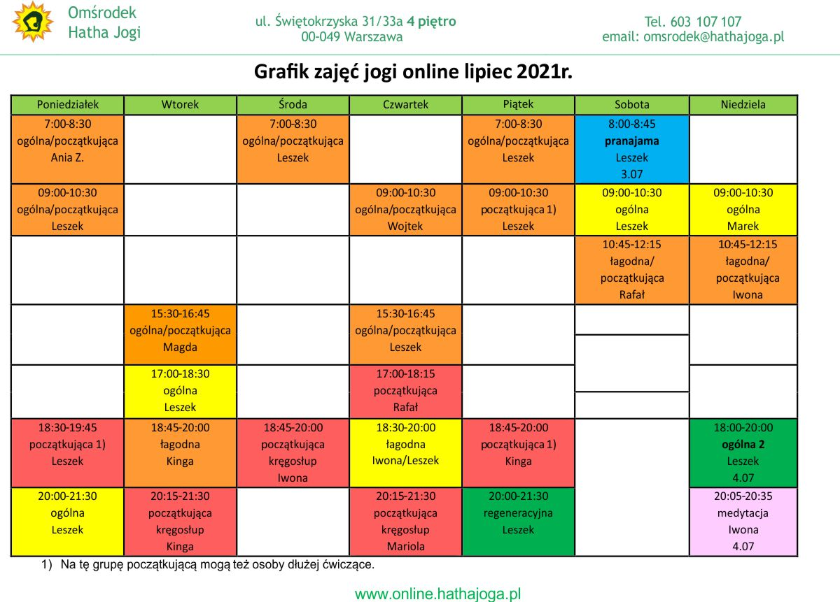 Grafik zajęć jogi online na lipiec 2021